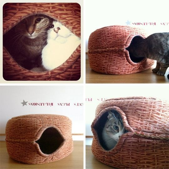 21  if you need a cheap and easy yet stylish hideaway bed sew together two ikea gosig toy baskets  26 hacks that will make any cat owner u0027s life easier   rh   iizcat