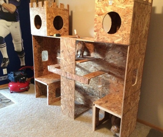 This diy epic kitty castle will make your cat feel like for Castle cat tower