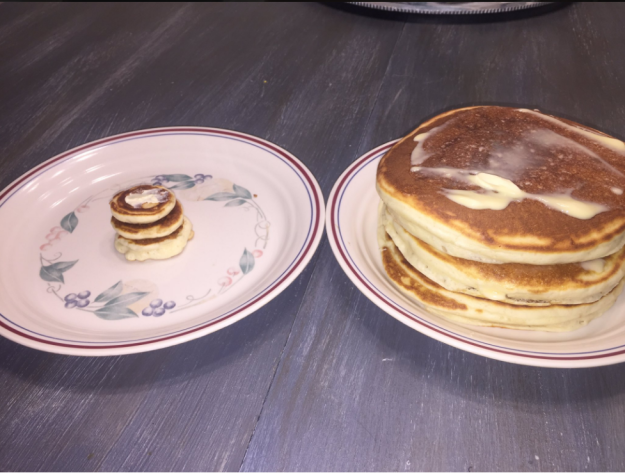small and large pancakes