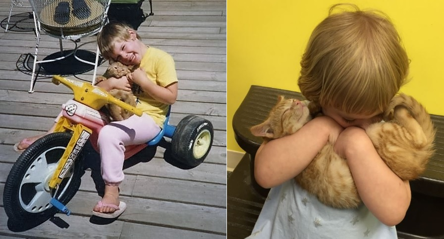 mom and daughter holding their cats