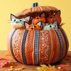 kittens in a pumpkin basket