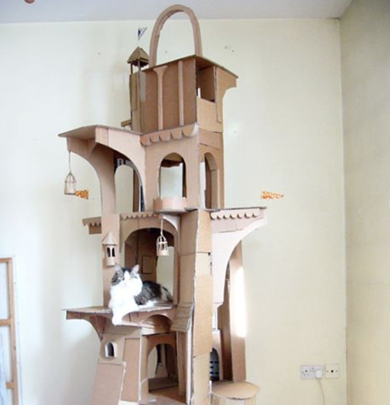 Guy creates epic cardboard structures for his cat gallery for Epic cat tree