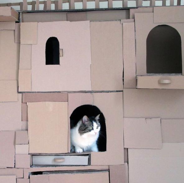 cardboard cat tower 1