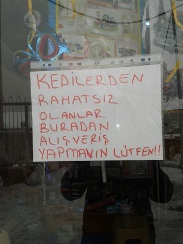 bayal puts up a sign for his shop