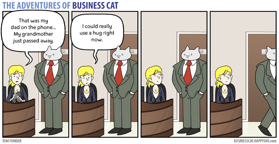 business cat hug