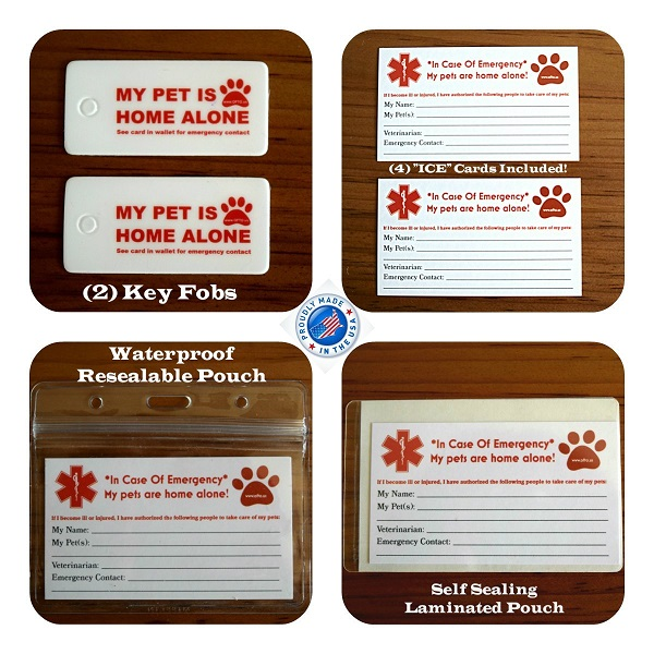 emergency pet car tag and card