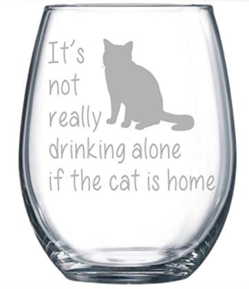 cat loving introvert product cat wine glass