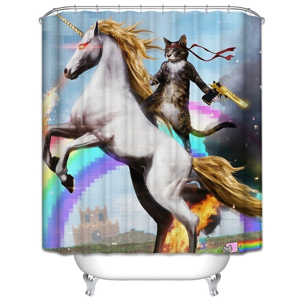 Awesome Cat Shower Curtain 3