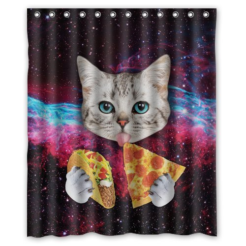 Shower in style with these 8 totally awesome cat shower for Space pizza fabric