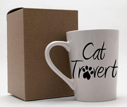 cat loving introvert product catrovert mug