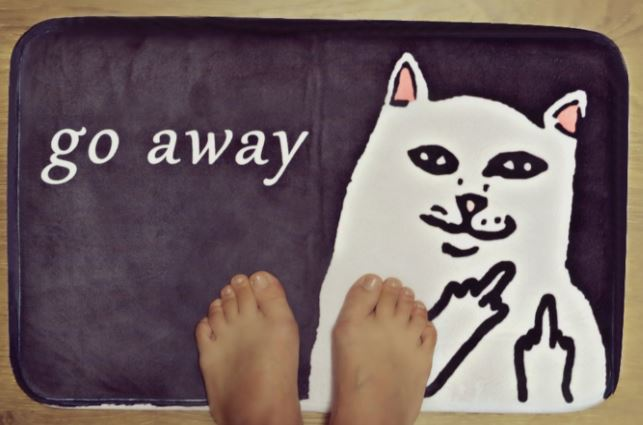 cat loving introvert product go away mat 2
