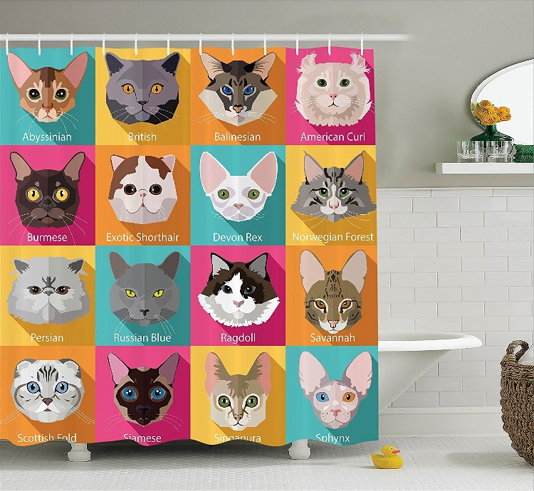Superbe Awesome Cat Shower Curtain 7