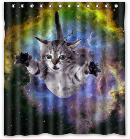 awesome cat shower curtain 2