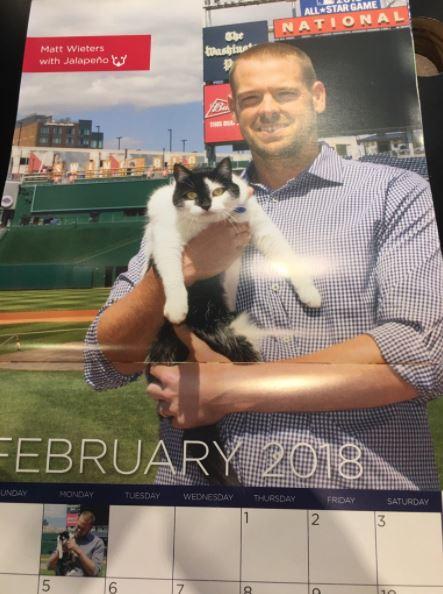 matt wieters holding pet cat in calendar