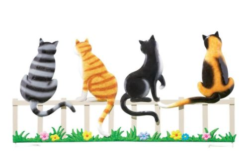 cats on a fence garden stake