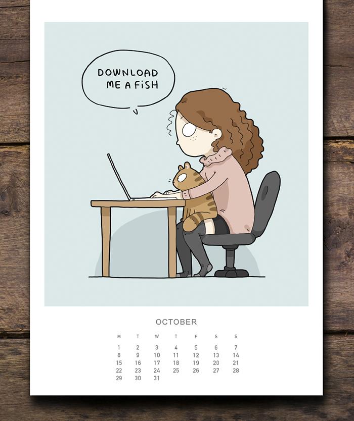 cat calendar october