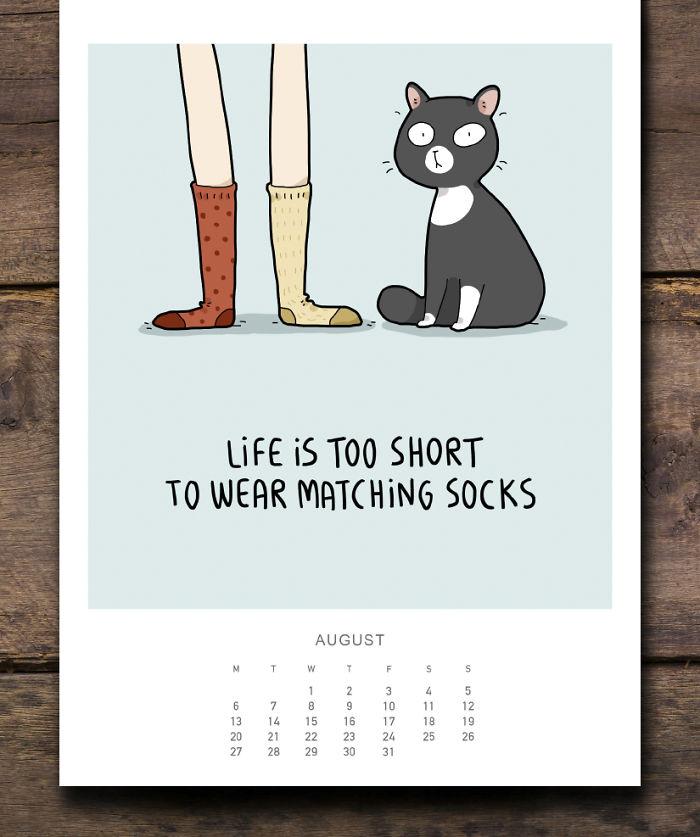 cat calendar august