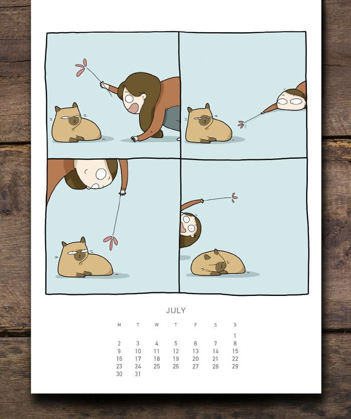 cat calendar july
