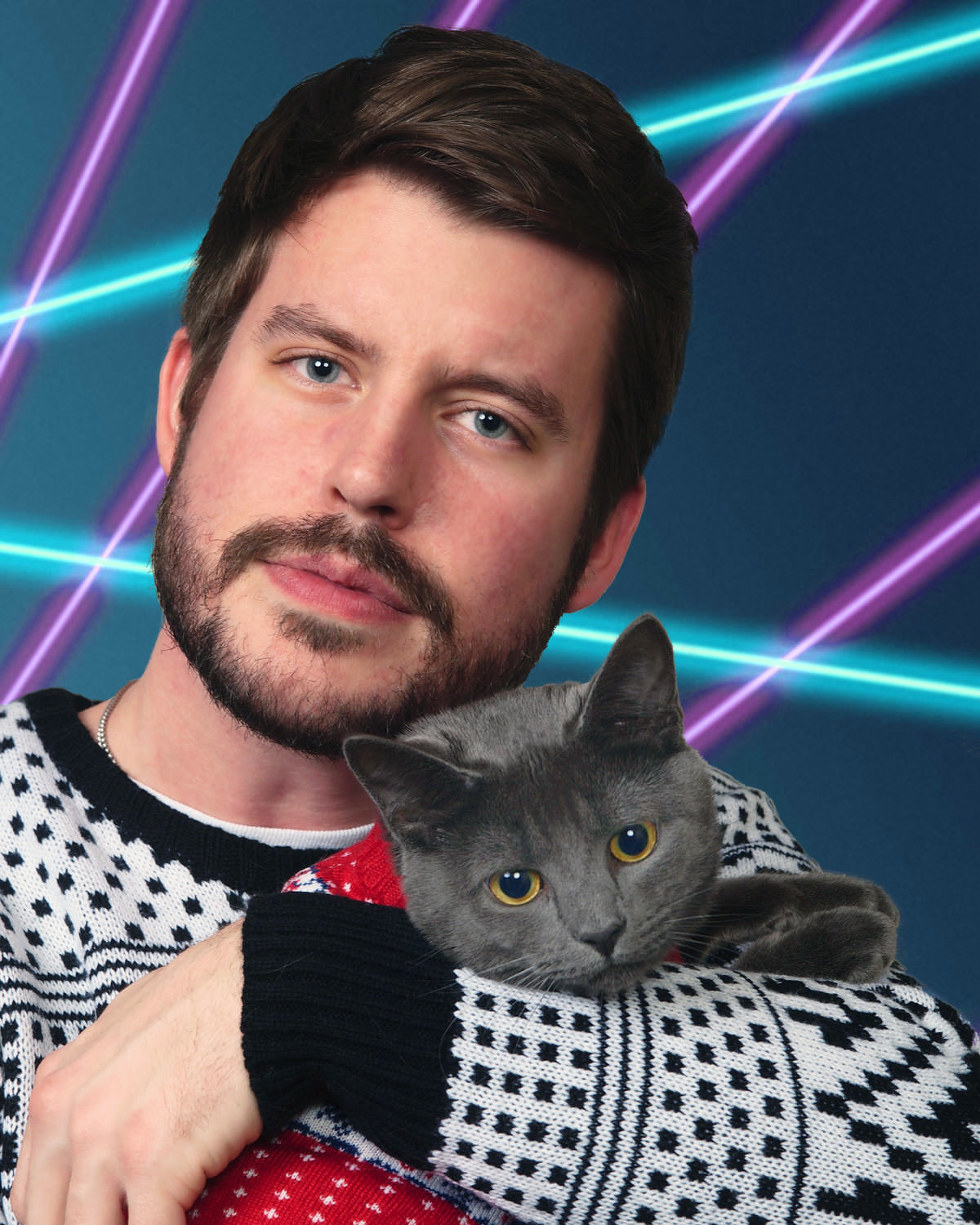 man celebrates kitten in holiday photo 7