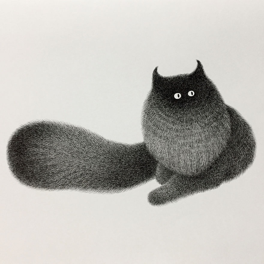 fluffy black cat ink 13