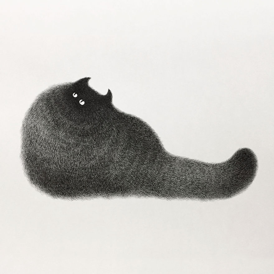 fluffy black cat ink 15