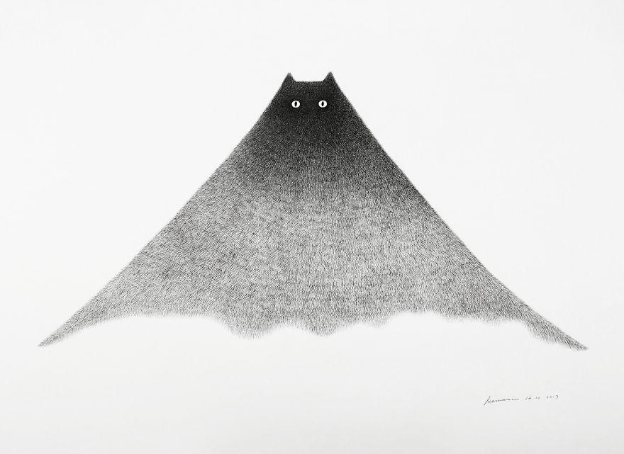 fluffy black cat ink 7