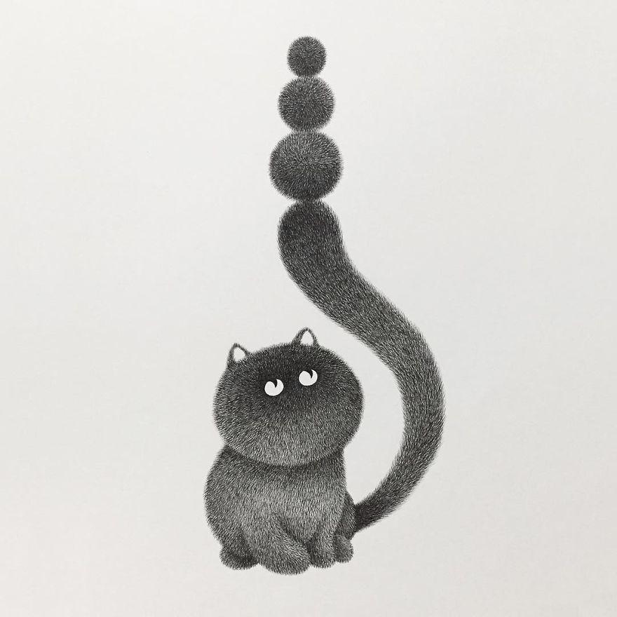 fluffy black cat ink 12