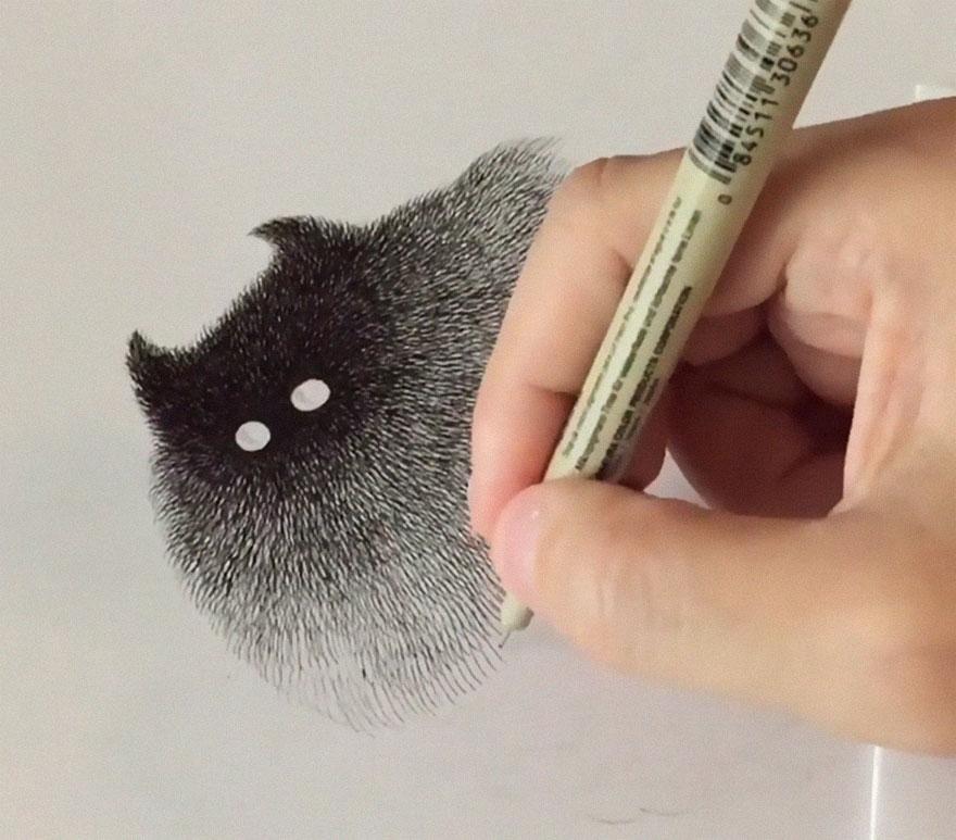 fluffy black cat ink 16