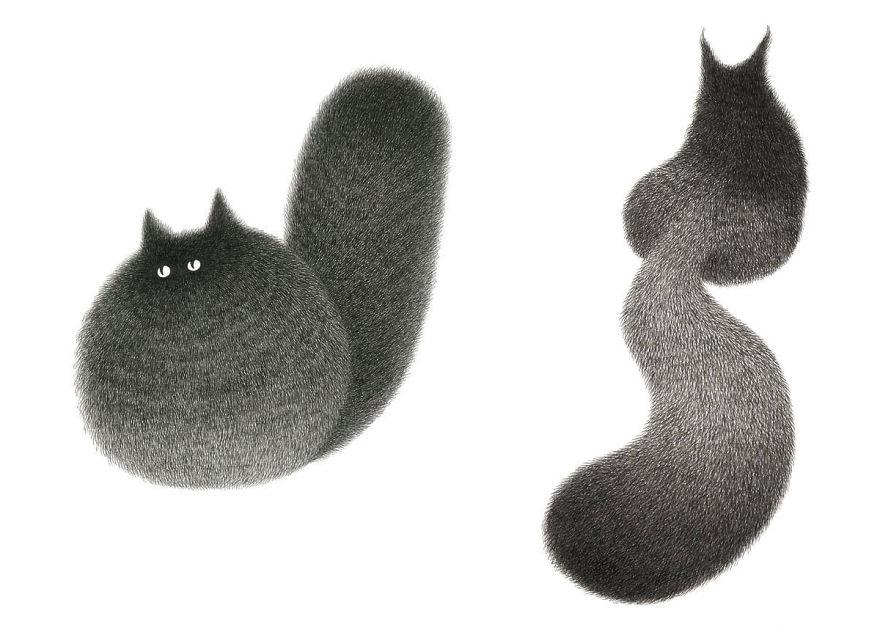 fluffy black cat ink 2