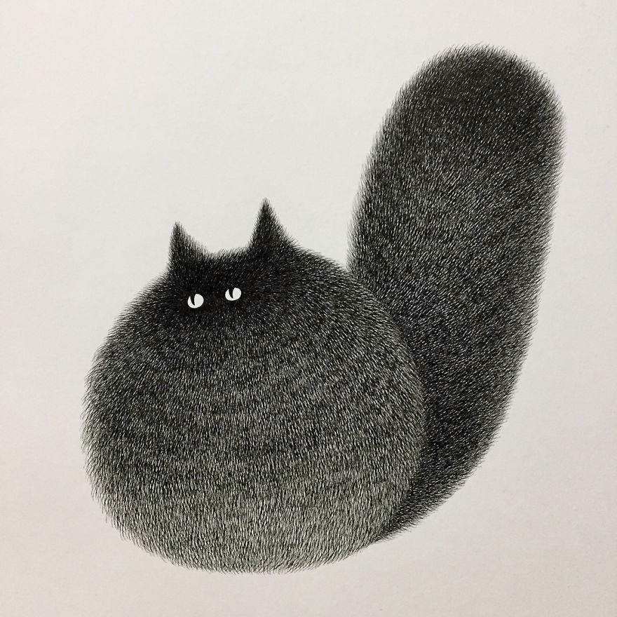 fluffy black cat ink 6