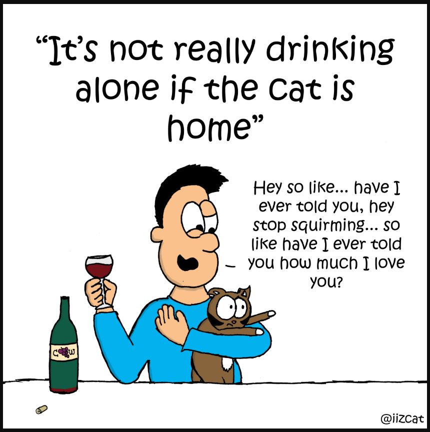 its not really drinking alone when the cat is home